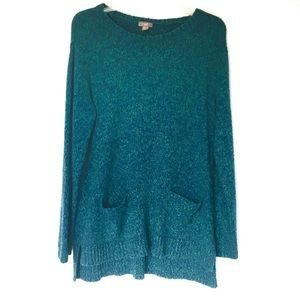 J. Jill Blue Green Marled Speckle Pockets Sweater